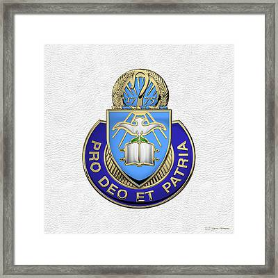 U.s. Army Chaplain Corps - Regimental Insignia Over White Leather Framed Print by Serge Averbukh