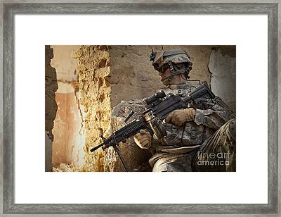 U.s. Army Ranger In Afghanistan Combat Framed Print by Tom Weber