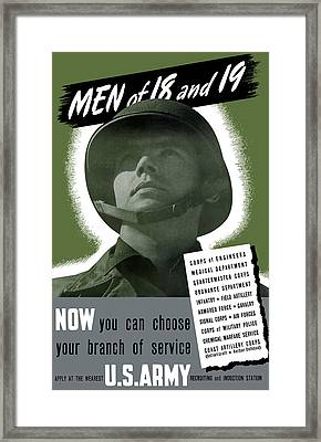 Vintage Us Army Recruiting Poster Framed Print by War Is Hell Store