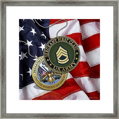 U.s. Army Sergeant First Class Rank Insignia And Army Seal Over American Flag Framed Print