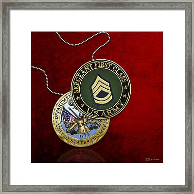 U.s. Army Sergeant First Class Rank Insignia And Army Seal Over Red Velvet Framed Print