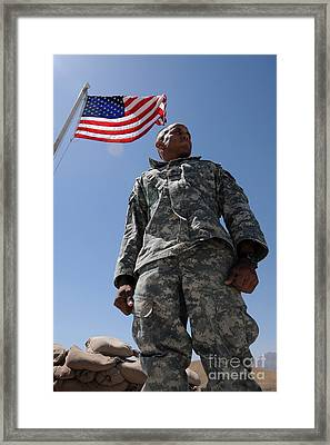 U.s. Army Soldier Taking In The Sun Framed Print
