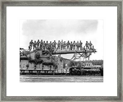 U.s. Army Soldiers Stand On Top Framed Print