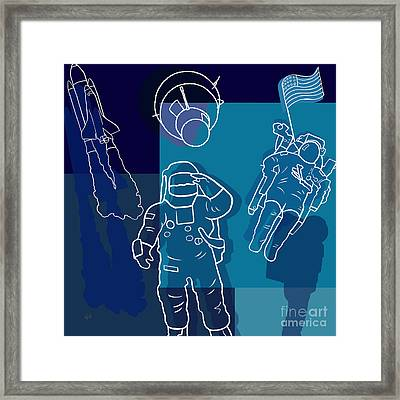 Us Astronauts Framed Print by Bedros Awak