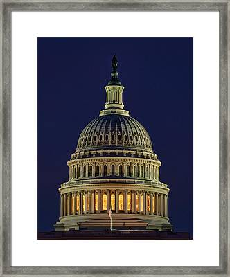 U.s. Capitol At Night Framed Print