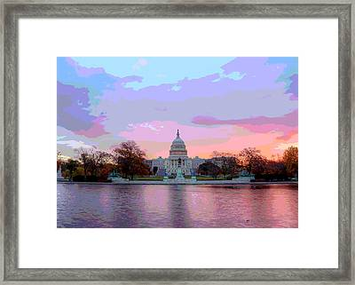 Us Capitol At Sunset Framed Print by Charles Shoup