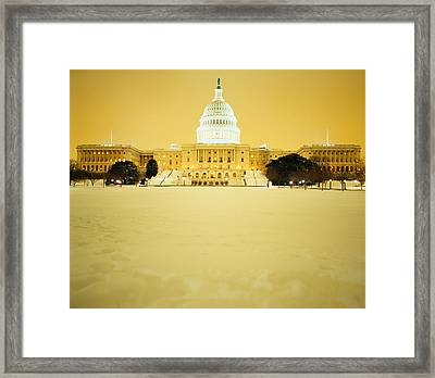 Us Capitol Building Illuminated Framed Print by Panoramic Images