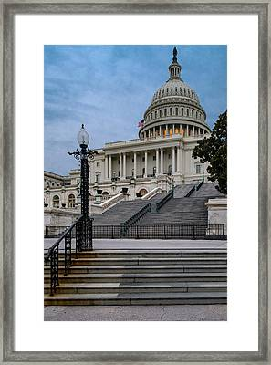 Framed Print featuring the photograph Us Capitol Building Twilight by Susan Candelario