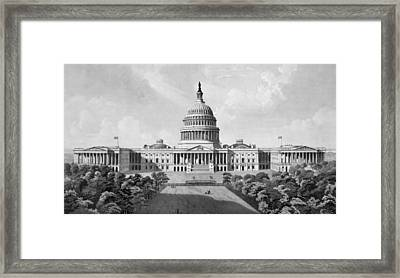 Us Capitol Building Framed Print by War Is Hell Store