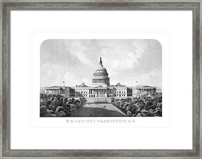 Us Capitol Building - Washington Dc Framed Print by War Is Hell Store