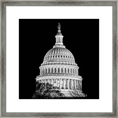 Us Capitol Dome In Black And White Framed Print