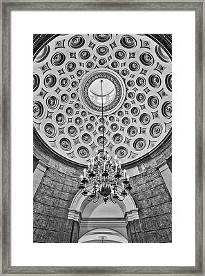 Framed Print featuring the photograph Us Capitol Rotunda Washington Dc Bw by Susan Candelario
