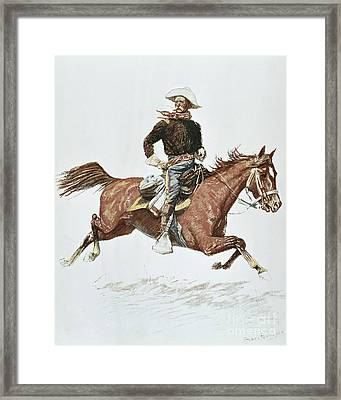 Us Cavalry Officer In Campaign Dress Of The 1870s Framed Print by Frederic Remington