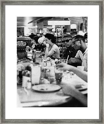 Us Civil Rights. Black Patrons Sitting Framed Print by Everett
