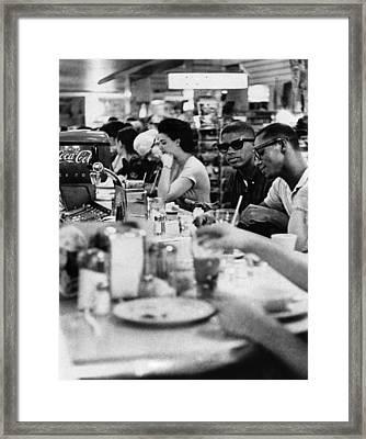 Us Civil Rights. Black Patrons Sitting Framed Print by Everett