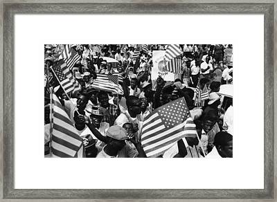 Us Civil Rights. Demonstrators Rallying Framed Print