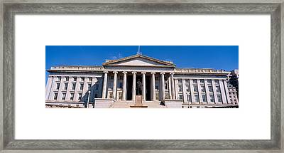 U.s. Department Of Treasury With Statue Framed Print