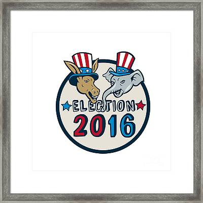Us Election 2016 Mascot Donkey Elephant Circle Cartoon Framed Print by Aloysius Patrimonio