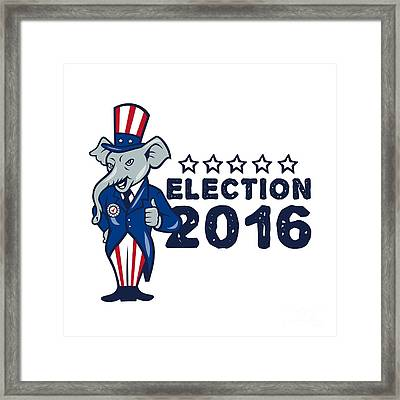 Us Election 2016 Republican Mascot Thumbs Up Cartoon Framed Print by Aloysius Patrimonio