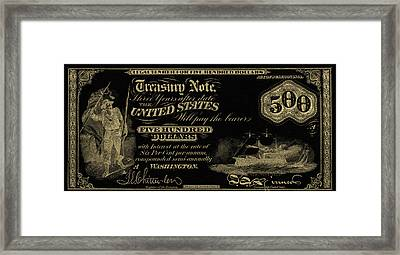 Framed Print featuring the digital art U.s. Five Hundred Dollar Bill - 1864 $500 Usd Treasury Note In Gold On Black by Serge Averbukh