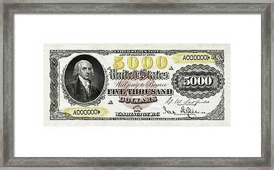 Framed Print featuring the digital art U.s. Five Thousand Dollar Bill - 1878 $5000 Usd Treasury Note  by Serge Averbukh