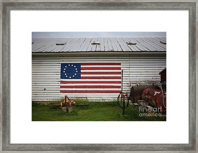 Us Flag Barn Framed Print