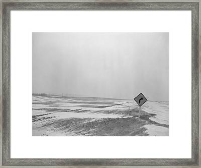 U.s. Highway 12 Obscured By Snow Drifts Framed Print
