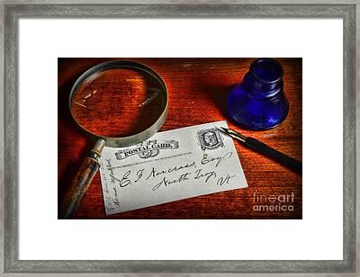 Us Mail The Postal Card Framed Print