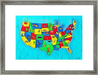 Us Map With Theme  - Free Style -  - Pa Framed Print
