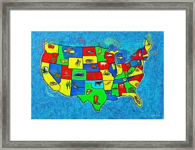Us Map With Theme  - Van Gogh Style -  - Da Framed Print by Leonardo Digenio
