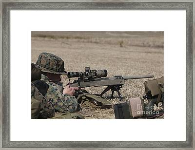 U.s. Marine Fires His M40a3 7.62mm Framed Print by Stocktrek Images