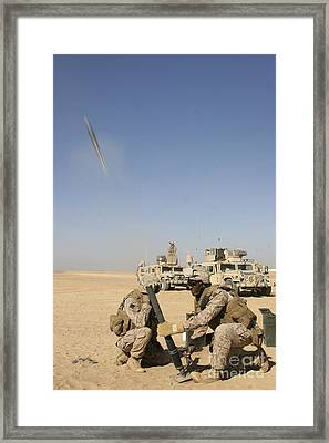 U.s. Marines Firing A 60-mm Mortar Framed Print by Stocktrek Images