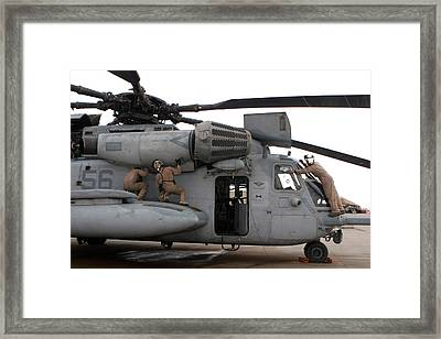 U.s. Marines Perform Preflight Checks Framed Print by Stocktrek Images