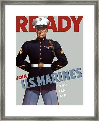 Us Marines - Ready Framed Print by War Is Hell Store