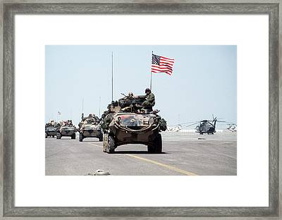Us Marines Roll Into Kuwait Framed Print