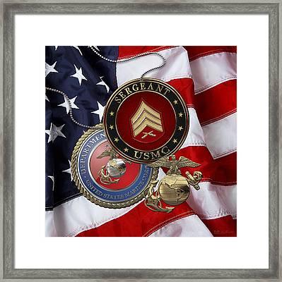 U. S. Marines Sergeant - U S M C Sgt Rank Insignia Over American Flag Framed Print