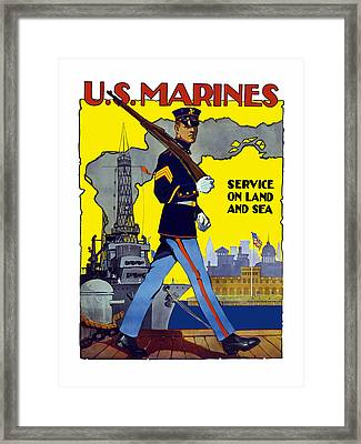 U.s. Marines - Service On Land And Sea Framed Print by War Is Hell Store