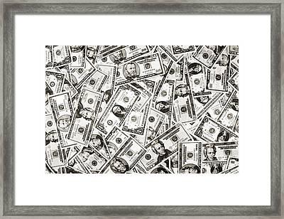 Us Money Dollar Background Framed Print
