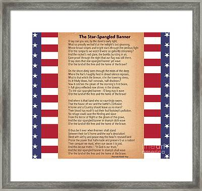Us National Anthem - The Star-spangled Banner  Framed Print