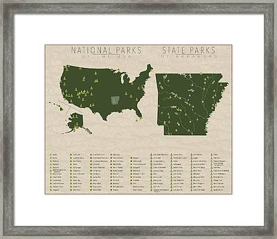 Us National Parks - Arkansas Framed Print by Finlay McNevin