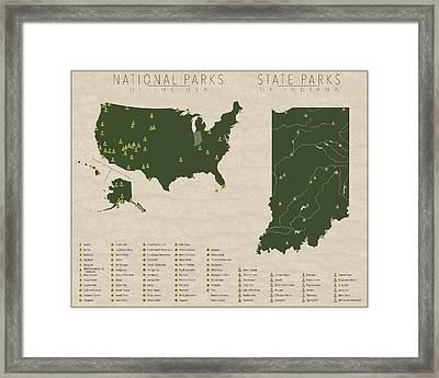 Us National Parks - Indiana Framed Print