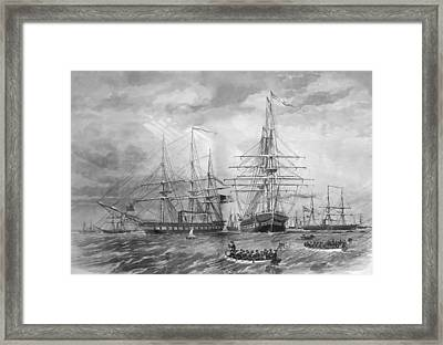 U.s. Naval Fleet During The Civil War Framed Print by War Is Hell Store