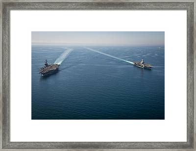 Us Navy Aircraft Carriers Framed Print by Celestial Images
