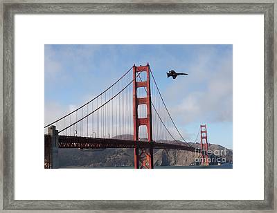 Us Navy Blue Angels Crossing The San Francisco Golden Gate Bridge - 5d18926 Framed Print