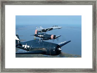 Us Navy Lagacy Flight  Framed Print by John Clark
