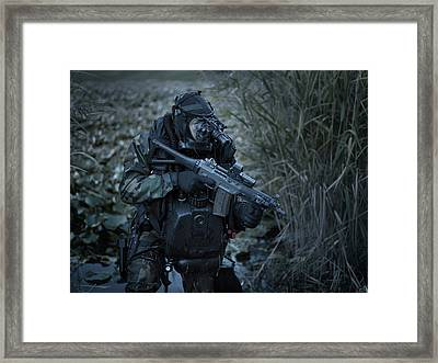 U.s. Navy Seal Equpped With Night Framed Print