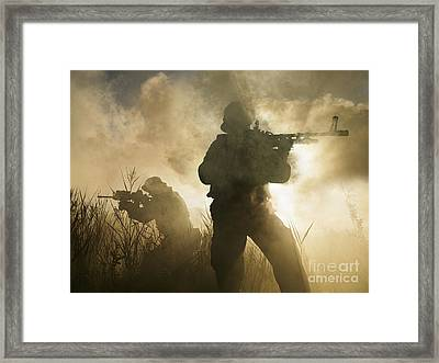 U.s. Navy Seals During A Combat Scene Framed Print by Tom Weber