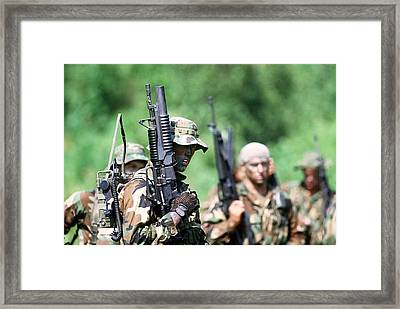 Us Navy Seals In Warfare Training Framed Print