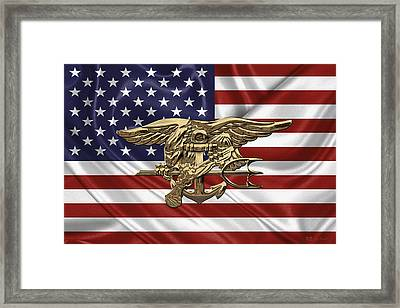 U.s. Navy Seals Trident Over U.s. Flag Framed Print