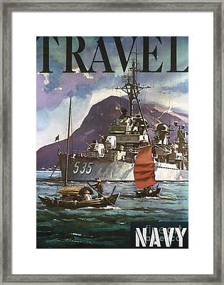 U.s. Navy Travel Poster Framed Print by Granger